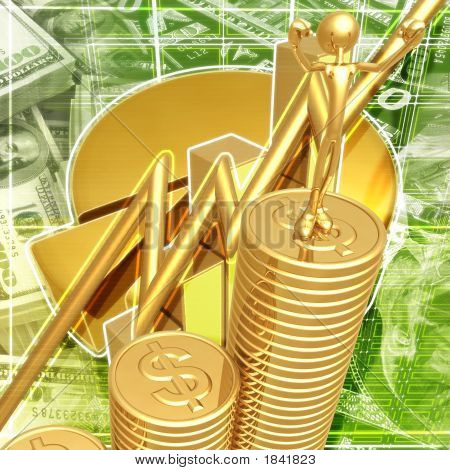 Business Growth Success Standing On A Bar Graph Of Gold Coins