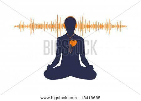 Vector illustration of yoga listening his heart