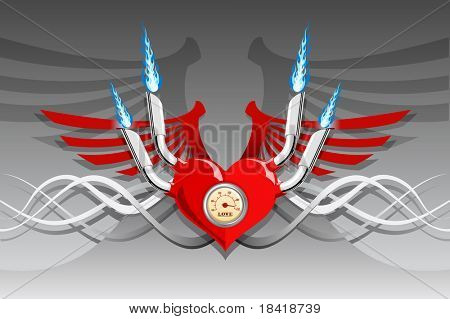 Vector illustration of a heart with wings and flames on a silver background