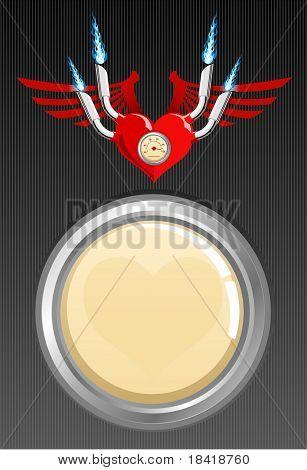 Ilustração em vetor de um coração com asas sobre um fundo preto com cópia-espaço. Veja outros no portf