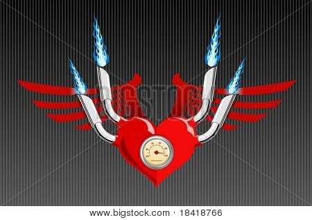 Vector illustration of a heart with wings and flames