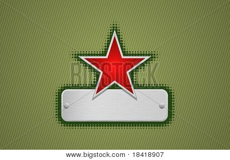 Vector illustration of a green frame with red star and metal copy-space #1