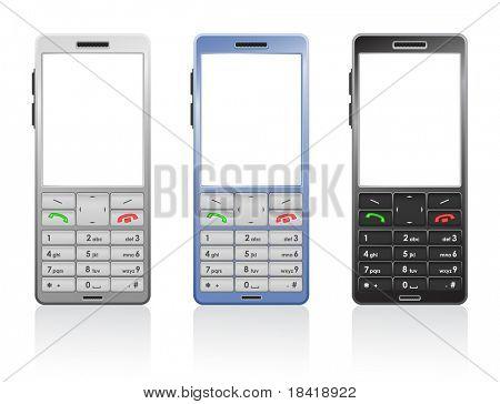 Fotorealistische Vektor-Illustration von einer Farbe Mobiltelefone, offen