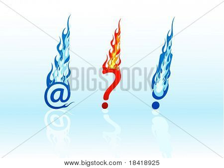 Set of vector colored fire question marks, exclamation marks, and e-mails