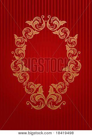 Vector wallpaper real con oro marco floral