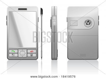Vector photorealistic illustration of gray PDA, 3 sides
