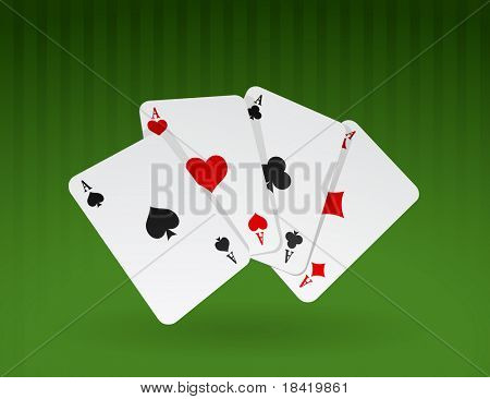 Vector illustration of four cards on green background