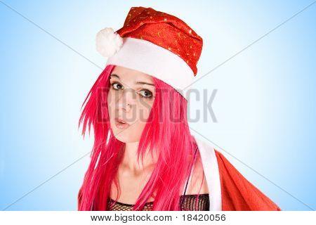 Surprised mrs. Santa, studio shot over blue background
