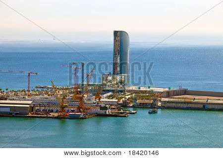 Spain. Barcelona. The top view on seaport