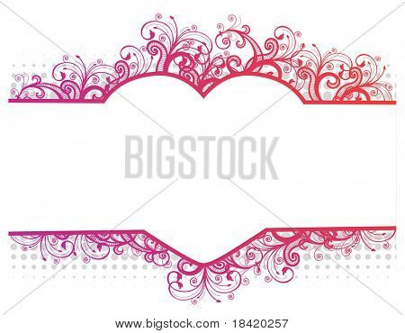 Vector illustration of a floral pink border with heart