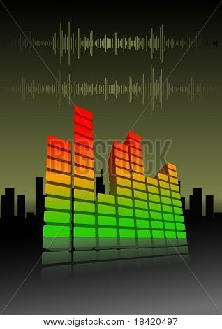 Illustration of an equalizer bar on abstract city background. Vector in my portfolio