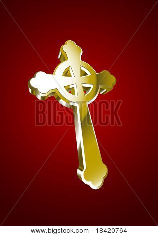 Vector illustration of golden Celtic cross over red background
