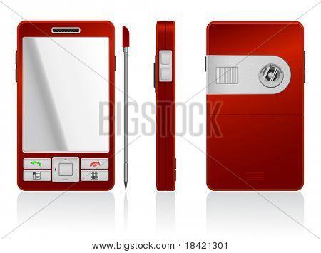 Illustration of red PDA, 3 sides