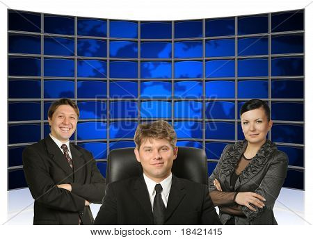 Business People And Map Earth Back
