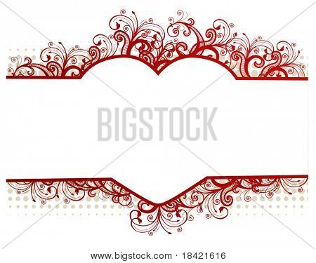 Vector floral beige frame with heart-shaped copy-space for your text