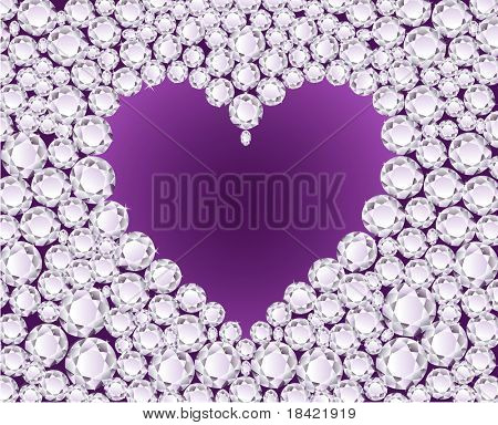 Purple heart on shiny diamond background