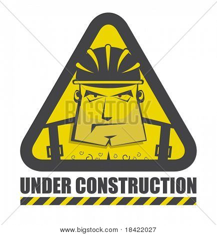 Vector under construction icon with funny construction worker for internet site
