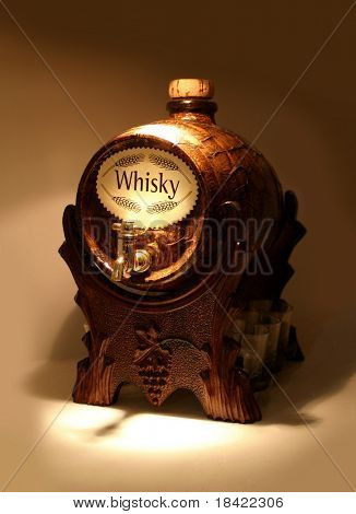Barrel with whiskey