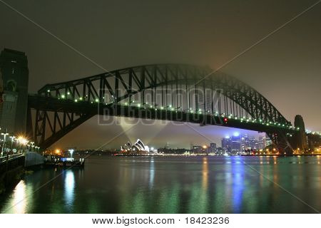 Sydney Harbour Bridge at foggy night