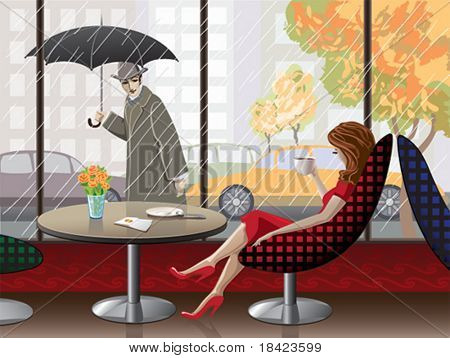 Romantic scene - lady is having coffee near to the window at the cafe
