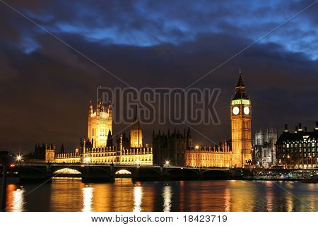 Dusk over the Thames. Houses of Parliament and Westminster Bridge. London.