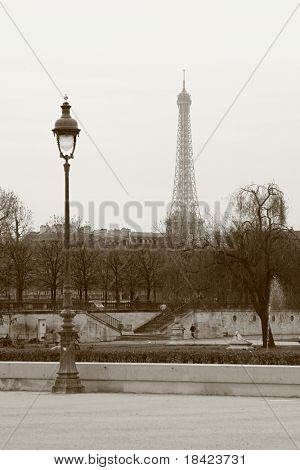 Lantern and Eiffel Tower. View from the Terrasse des Tuileries. Paris, France