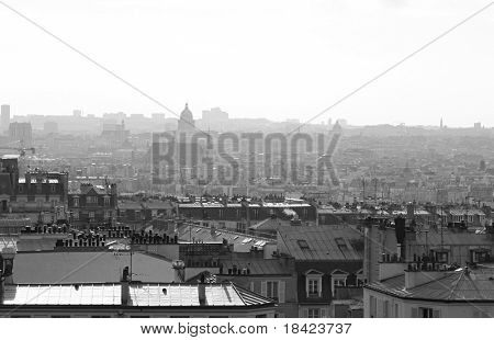 City panorama from the butte Montmartre. Paris, France
