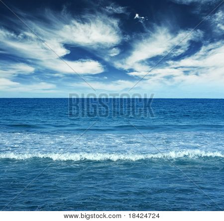 Blue water landscape