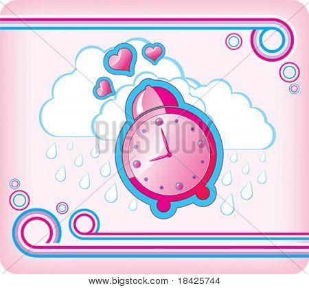 Ilustração vetorial com despertador rosa