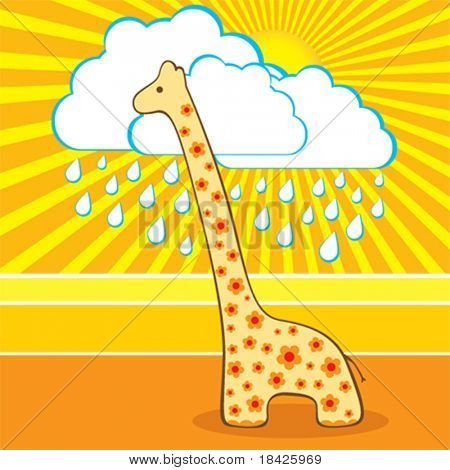 Vector illustration of the cute giraffe