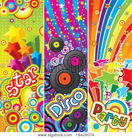 Three vector party banners