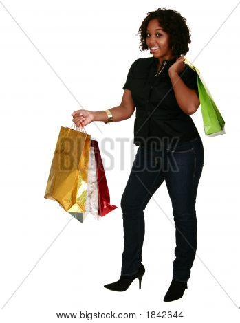 African American Girl Holding Shopping Bags