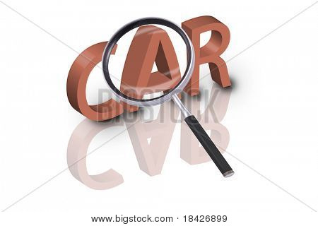 magnifying glass enlarging part of 3D word car in red with reflections