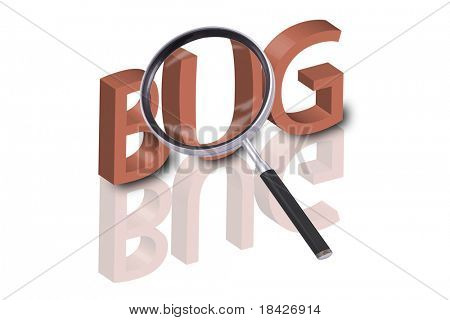 magnifying glass enlarging part of 3D word bug in red with reflections