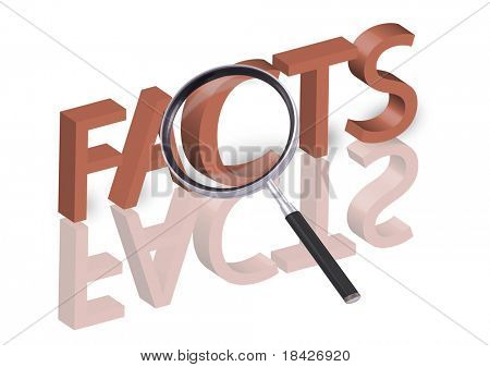 magnifying glass enlarging part of 3D word facts in red with reflections blurred