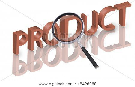 magnifying glass enlarging part of 3D word product in red with reflections