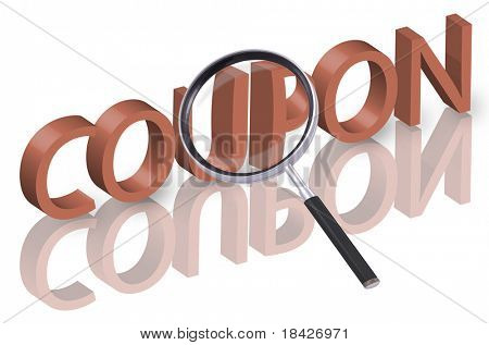 magnifying glass enlarging part of 3D word coupon in red with reflections