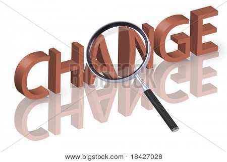 magnifying glass enlarging part of 3D word change in red with reflections
