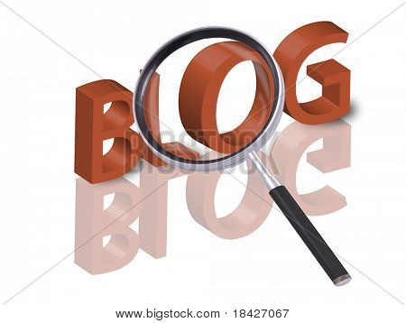 magnifying glass enlarging part of 3D word blog in red with reflections