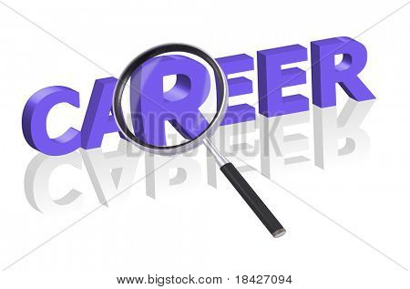 magnifying glass enlarging part of 3D word career in blue with reflections