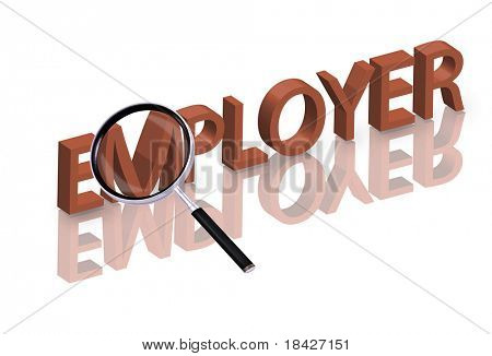 Magnifying glass enlarging part of red 3D word with reflection help wanted hiring now employer button icon job ad button