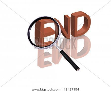 Magnifying glass enlarging part of red 3D word with reflection end button finish icon isolated on white