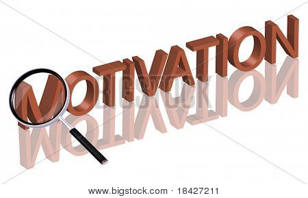 Magnifying glass enlarging part of red 3D word with reflection motivation button motivation icon