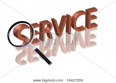 Lupa de ampliación de parte de la palabra 3D roja con servicio de botón de servicio de servicio en línea de reflexión