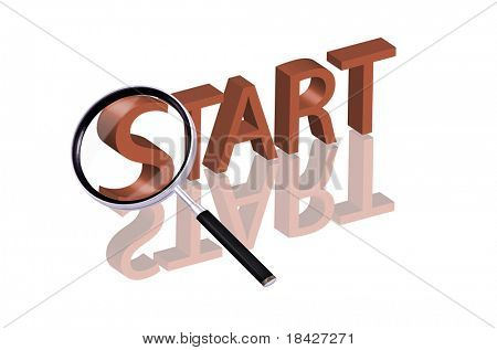 Magnifying glass enlarging part of red 3D word with reflection start here start button start icon begin beginning