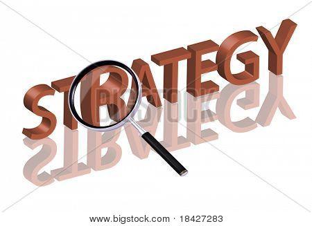 Lupa de ampliación de parte de la palabra 3D roja con icono de estrategia de botón de estrategia de reflexión