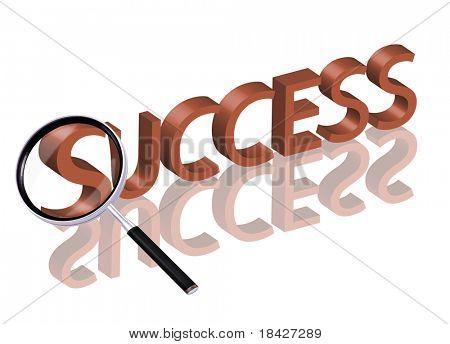 La parte de agrandamiento de lupa de palabra 3D rojo con icono del éxito del botón del éxito de reflexión éxito s