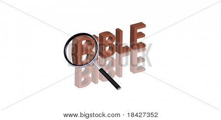 bible button search truth spiritual god belief faith jesus christian Magnifying glass enlarging part of red 3D word with reflection