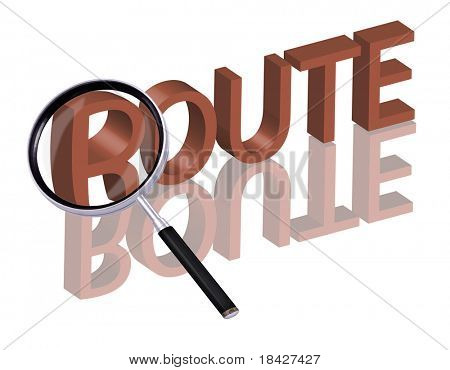 route button route icon route searcher search route planner search destination navigation navigate Magnifying glass enlarging part of red 3D word with reflection