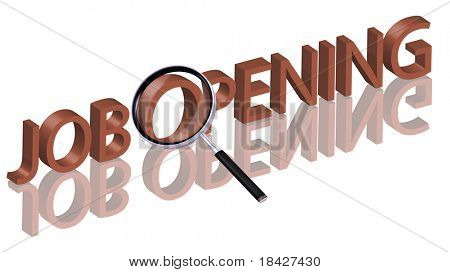 Job opening hiring now job vacancy help wanted job search job button job icon Magnifying glass enlarging part of red 3D word with reflection
